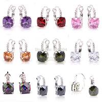 Wholesale Hot Jewelry Amethyst Garnet Pink Topaz Morganite Peridot White Topaz Rainbow Topaz 925 Dangle Hook Silver Earring Gift