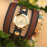 Fashion 2014 Women Dress Watch Crystal Rhinestone Analog Quartz Watch Fashion Leather Wrap Bracelet Wristwatces B6