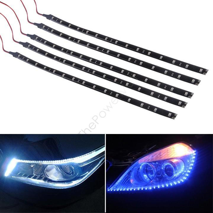 New Sale 5 x 15 LED 30cm Car Motor Vehicle Flexible Waterproof Strip LED Lamp Light Blue/ White 12v B16 SV007983(China (Mainland))