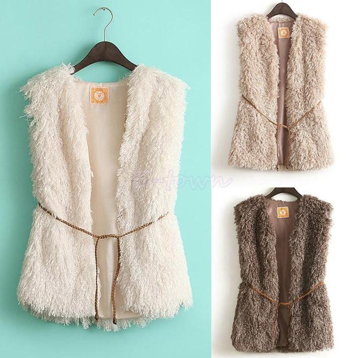 Wholesales 2014 New Fashion Winter Sleeveless Warm Women Faux Fur Vest Fur Coat Jacket Waistcoat Coat With BeltSV03 CB 12(China (Mainland))