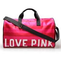 New 2014 High Quality Red Striped Brand Fashion Love Pink Tote Bag Women Handbag Shoulder Bag Travel Bags Travel Duffel Bags