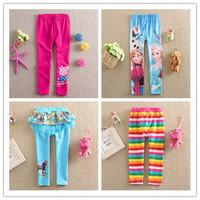 Retail Frozen Elsa Anna Little Girls Pants Kids pencial elastic Trousers Peppa pig baby Leggings elastic Cotton Striped Children