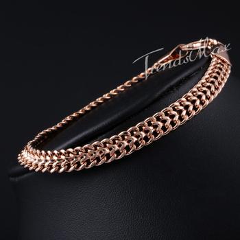 7 мм экрана-helix бисмарк цепочка звеньевая мужские цепь женщин браслет 18 K розовое ...