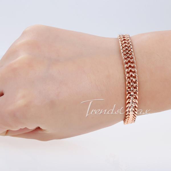 7mm Helix Bismark Link Chain Mens Chain Womens Bracelet 18K Rose Gold Filled Bracelet Wholesale Jewelry