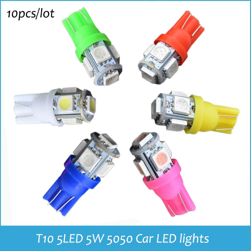 Car LED Clearance lights T10 5LED LIGHT T10 5 LED Auto LED Lamps T10 5SMD 194 W5W 5050 Wedge Light Bulb Lamp 6 Color Options(China (Mainland))