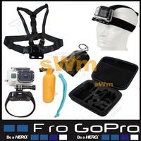 Sj5000 Sj4000 Go pro Accessories Wrist Head Chest Strap+Bag+Floating Bobber Grip Mount+Case Gopro Hero 1 2 3 4 Hero4 Hero3 Hero2