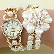 Hot sale 11 colors ladies fashion luxury pearl bracelet wristwatches women dress watches relogio feminino reloj mujer 2015 WQ001(China (Mainland))