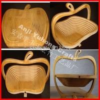 Free shipping 5pcs/lot fruit bamboo folding basket home storage basket nolvety item with apple shape
