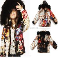 European fashion brand original winter outerwear baby girl children floral padded jacket warm coat down jacket girl kid parkas