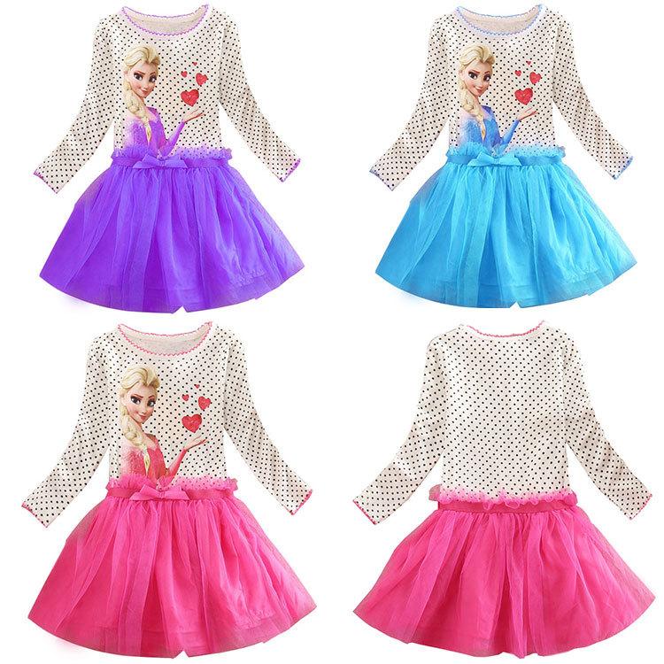 Hot sale Dress Elsa & Anna Summer Dress baby Girl 2015 New Princess Dresses Brand Girls Dress Children Clothing for baby(China (Mainland))