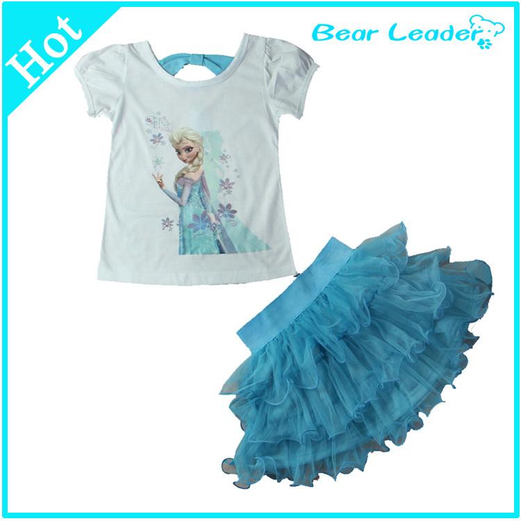 [ Bear Leader ]2015 Girls Cartoon Vestidos Dress + T shirt 2 Pcs Set 3-8Age Sky Blue Layered Tutu Dress Sets Casual AQZ077(China (Mainland))