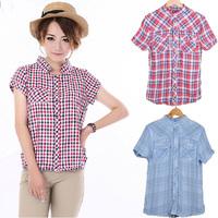 Blusas Femininas 2015 Women Blouses and Shirts Stand Collar Button Plaid Cotton100% Blouse Fashion Short Sleeve Shirt Blouse Top