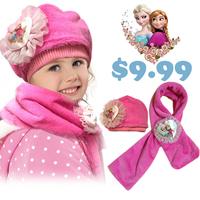 New arrival Frozen Scarf Hat set Frozen Elsa Anna princess winter 2PCS children scarf hat set kids winter warm cap hat and scarf
