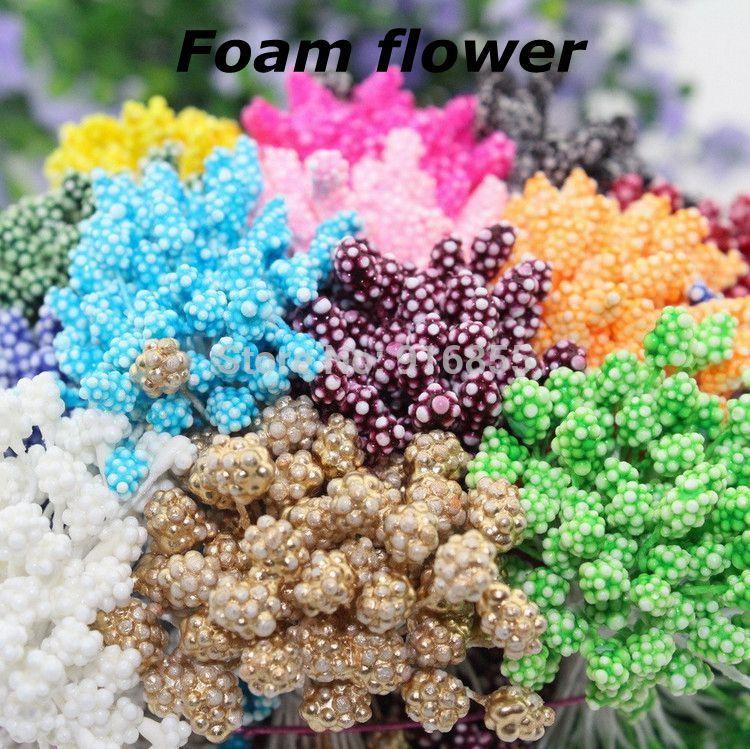 Free shipping 900pcs Multicolor Double Tips 5mm Foam flower stamen floral stamen cake decoration/wedding decoration craft DIY(China (Mainland))