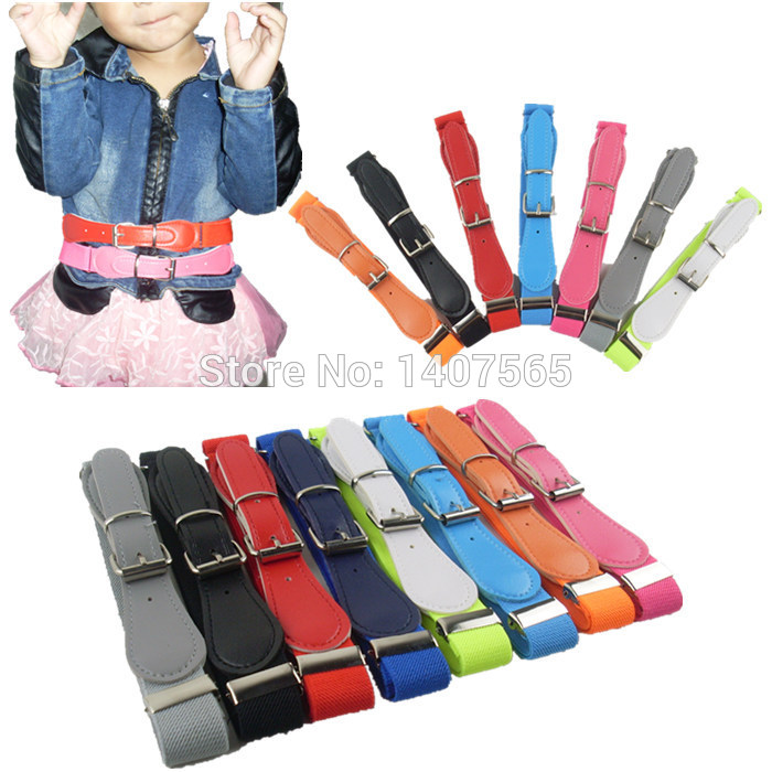 Free Shipping  Candy Color 1 Inch Wide Kids/Children Elastic Waist Belt For Boys/Girls(China (Mainland))