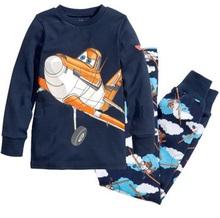 Lovely kids planes pajamas set boys long sleeve spring autumn sleepwear clothing baby lovely pyjamas suit Free Shipping(China (Mainland))