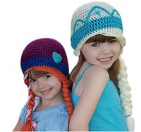 2014 Hot Baby Girl Frozen Knitted Hat Kids Cartoon Winter Cap Frozen Wool Beanie Skullies Handmade Hat Free Shipping