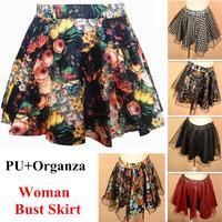 New 2014 retro Floral PU leather Skirt Womens Short Skirts Elastic waist Organza Pleated Tutu Skirt For Women