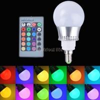 Hot Sale 5W/10W E27/E14 RGB LED Light 16 Color Changing Lamp Bulb 85-265V With Remote Control B22 CB030399