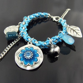 New Fashion flower charm Bracelet Suede Cord Acrylic Bracelets , Free Shipping , BR-425A