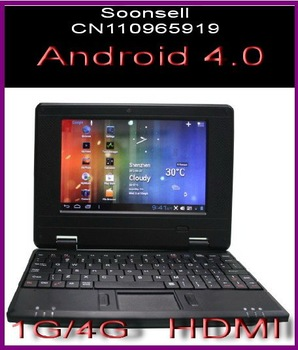 DHL Free shipping  7 inch Android 4.0  Wifi laptop,VIA 8850 DDR3 1G HDD 4G mini Netbook Support HDMI Output Camera 0.3M pixels