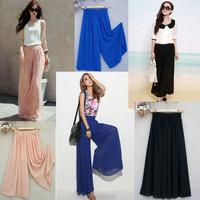 Women Trousers Wide Chiffon Harem Wide leg LC79502 Calcas Feminino Pink Black Blue Formal pants Women Fashion Free Shipping