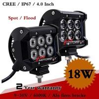 2PCS Inch 18W CREE LED Work Light Bar 12V 24V IP67 Fog Light for Motorcycle Tractor Boat Off Road LED Worklight Save on 36W 54W