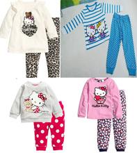 Nuevos 2014 Hello Kitty niños muchachas de los bebés Ropa Niños Ropa Establece trajes pant + pijama de manga larga de la camisa de dibujos animados ropa de dormir(China (Mainland))