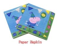 Food-grade Peppa Pig Paper Napkin Festive & Party Tissue Cartoon Napkin Supply Party Decoration Guardanapo 33cm*33cm 1pack/lot