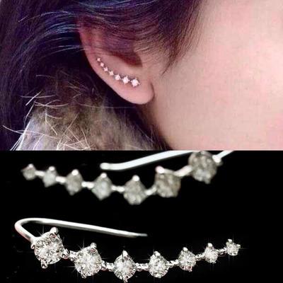 Top Quality 2015 New Four-Prong Setting 7pcs CZ Diamonds 18K Gold Plated Ear Hook Stud Earrings Jewelry ZYE534 ZYE548(China (Mainland))