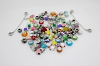 Mixed Style Rhinestone Resin Crystal Glass Clay Alloy Charm Loose Beads Silver Enamel Charms Fit European style DIY Braceles