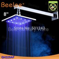Free Shipping+8 Inch Brass Hydro Power LED Bath Rain Shower Head (QH325AF)