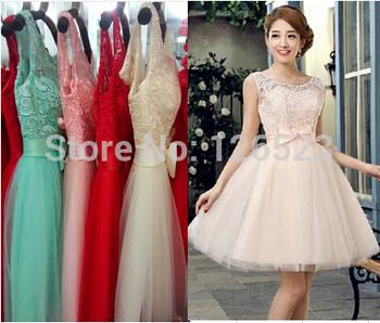 2015 новинка невесты платье вечернее платье короткое дизайн бальное платье с бантом узелок пром платья красный шампанское розовый фиолетовый