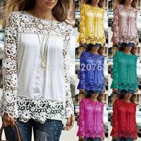 Plus Size S-5XL 2014 Vintage Style Womens Elegant Crochet Openwork Lace Patchwork Blouses Crew Neck Long Sleeve Chiffon Shirts