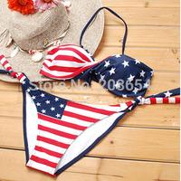 Details About STARS STRIPES USA PADDED TWIST BANDEAU BIKINI AMERICAN FLAG SWIMWEAR SWIMSUIT