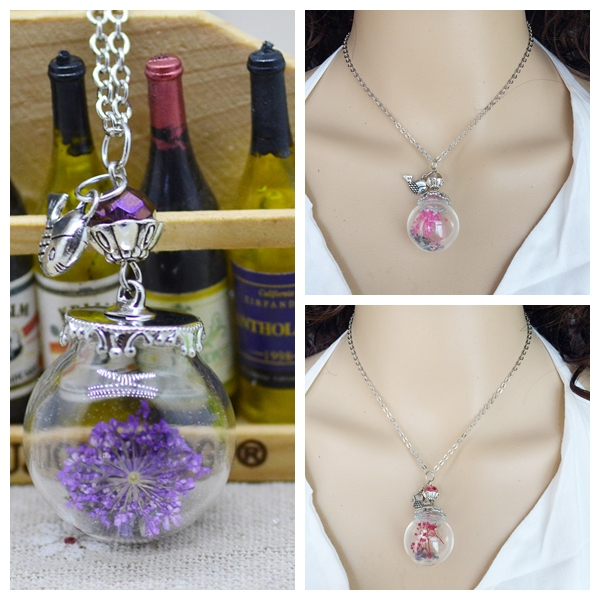 New Brand Flower Bottle Necklace Glass Dried Flowers Fish Pendants Crystal Necklace Silver Plated Chain Women