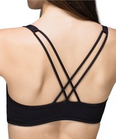 Classic Style Light Support Open Cross Back Removable Cups Yoga Sport Bra Top XS S M L XL