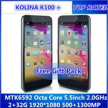 Original Unlocked Smartphone  Android 4.2 5.5″GPS+3G+WCDMA+GSM MTK6592T Octa Core IPS 32G ROM 1920x1080P FHD13.0MP KOLINA K100+