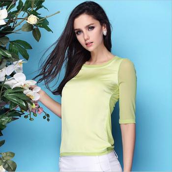 Женщины блузки 2015 лето шелк шифон топы для женщин Большой размер xxxl о-образным ...