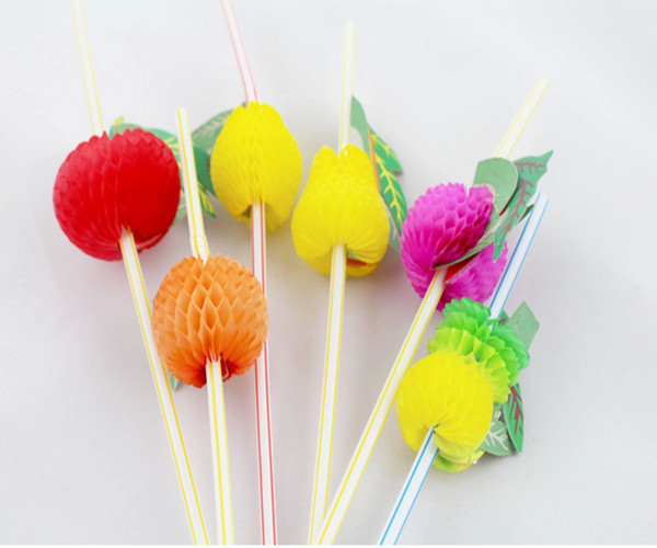 Fashion 50pcs/bag Assorted Multicolor Plastic Fruit Cocktail Drinking Straw BBQ Hawaiian Party Theme Decoration G087-C(China (Mainland))