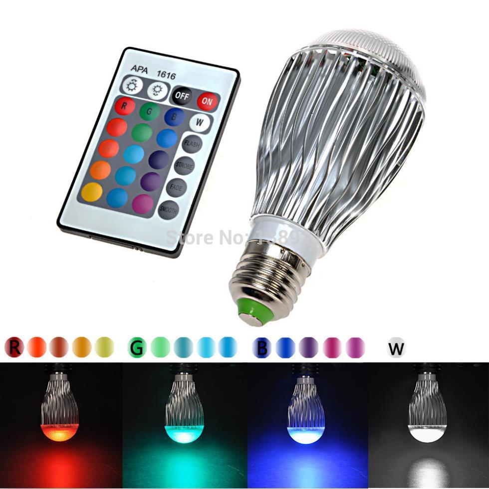 110V 9W E27 16 Colors LED RGB Magic Light Bulb Lamp With 24 Keys IR Wireless Remote Control(China (Mainland))