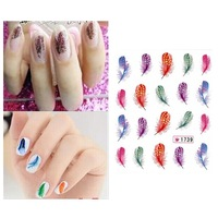 Hot Sale New Arrival Colorful Beautiful Leopard Water Transfer Stickers 3D Nail Art Tips Feather Decals Drop 65542
