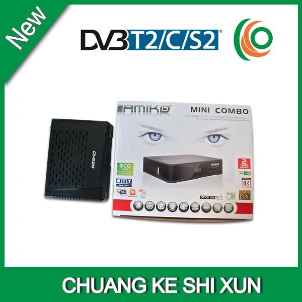 high quality UK channels hd combo dvb s2 dvb t dvb c satellite receiver amiko mini hd combo(China (Mainland))