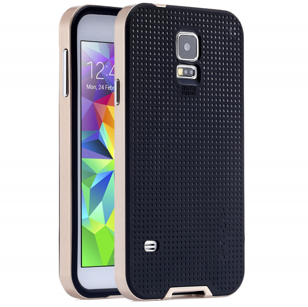 Hot !! Dual Layer Protect Back Case For Samsung Galaxy S5 Logo Luxury Phone Accessories Hard Armor Cover Hybrid For Galaxy S5(China (Mainland))