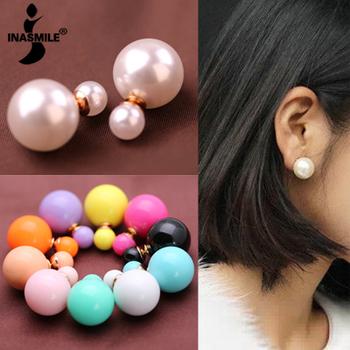 Новый 2015 мода двойной жемчужина ювелирные изделия pendientes конфеты цвет кристалл канал серьги для женщин brincos бусины серьги шутник шпильки