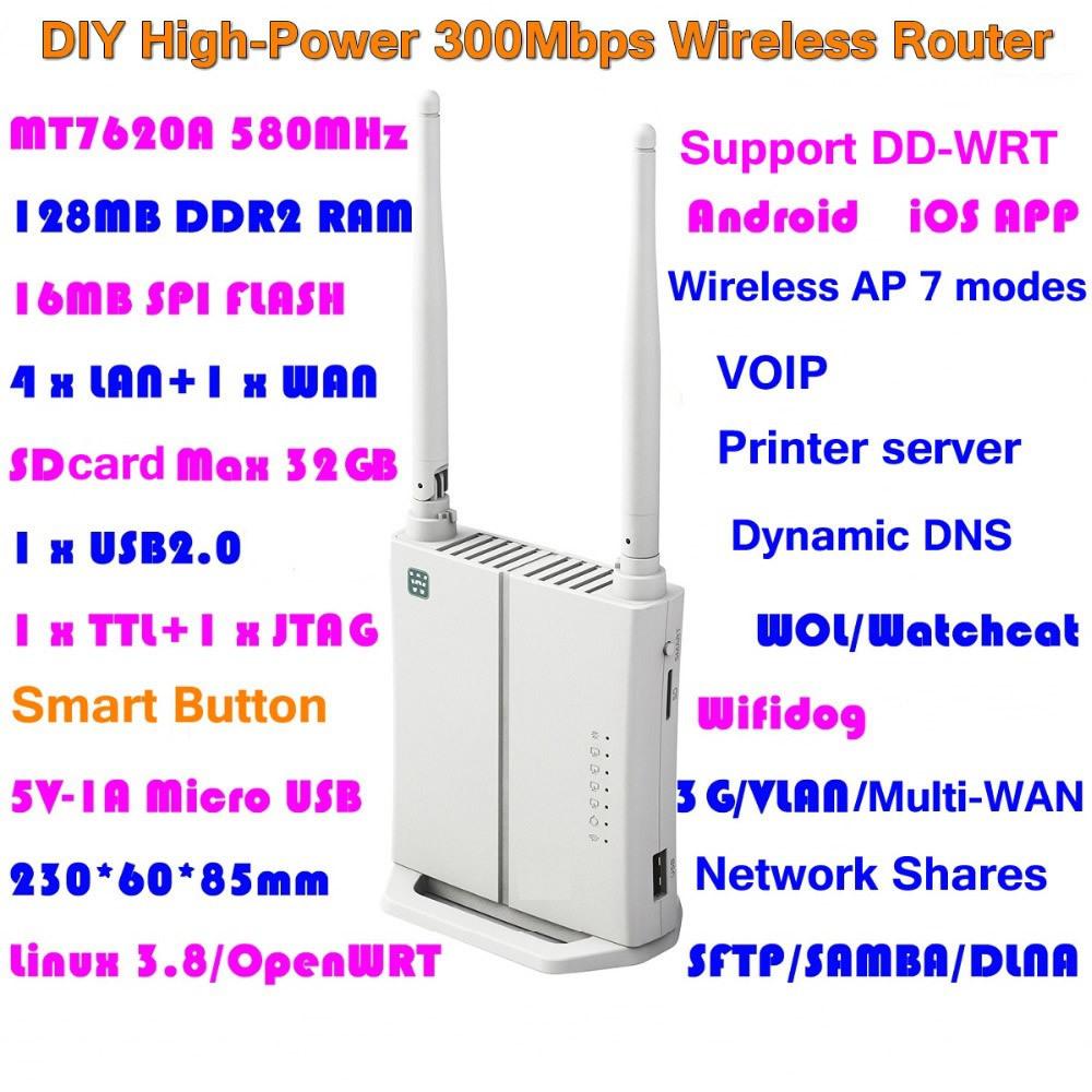 Высокой мощности! OPENWRT WLAN Wi-Fi мини беспроводной маршрутизатор английский прошивки 300 Мбит Wi-Fi ретранслятор AP Roteador USB / сервер печать / мифи