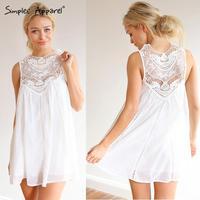 2015 New spring white lace dress for women Crochet lace mini dresses Cute Sweat chiffon flowy sleeveless straight dresses