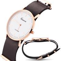 Unisex 2015 New Fashion Women Geneva Watches Gold Slim Pu Leather Quartz Man Men's Casual Dress Watches Woman Hot Clocks