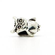1piece 925 Silver High quality Big Owl Bead DIY big hole European Beads Fits Silver Charm pandora Bracelets necklaces pendants
