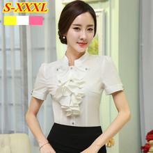 2015 Summer New elegant short sleeve women's shirt OL Stand collar chiffon Ruffles blouse ladies office plus size Formal tops(China (Mainland))